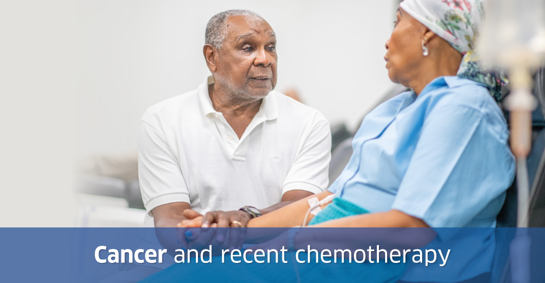 Cancer and recent chemotherapy